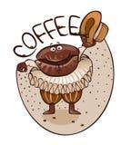 Cheerful coffee grain dances dance Royalty Free Stock Photo