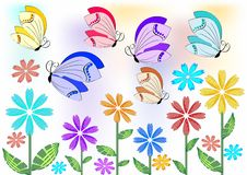 Cheerful colored butterflies flying over flowers on meadow or in garden. Design element for garden acivities, spring advertisement Royalty Free Stock Image