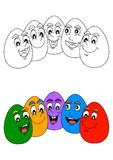 Cheerful colored easter eggs as a coloring book for young children Stock Image