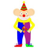 Crazy funny clown, circus artist with red nose and painted face. Cartoon image of clown to design customized birthday cards, party invitations, circus posters Stock Images