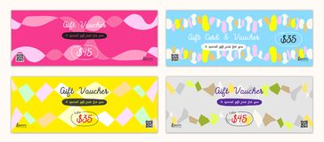 Cheerful and colorful gift certificate, voucher, gift card or ca. Sh coupon template in vector format Stock Photos