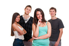 Cheerful company of young people Royalty Free Stock Photos
