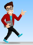 Cheerful Computer Geek - Pointing while Walking. Cheerful, Smiling Computer Geek - Pointing while Walking with Laptop vector illustration
