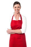 Cheerful confident female chef Royalty Free Stock Photo