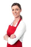 Cheerful confident female chef Royalty Free Stock Photography