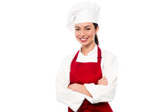 Cheerful confident young female chef Royalty Free Stock Photography