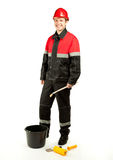Cheerful construction worker with special tools Royalty Free Stock Photos