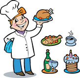 The cheerful cook. Holding on a tray different kinds of dishes Royalty Free Stock Photography