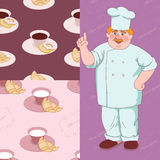 Cook. Cheerful cook and two pattern of kitchen fabric stock illustration