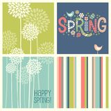 Cheerful coordinating retro Spring designs. Set of Spring designs including seamless stripes, doodle lettering, tall allium flowers. Cheerful coordinating royalty free illustration