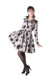 Cheerful coquette in retro style dress. Stock Image