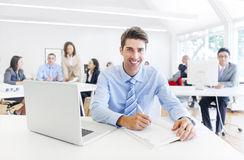 Cheerful Corporate Businessman Working Stock Images