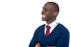 Cheerful corporate guy looking away Royalty Free Stock Photos