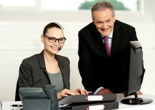 Cheerful corporate people at work in office Royalty Free Stock Photo