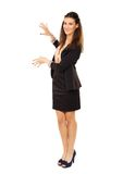 Cheerful Corporate Woman Showing Copyspace Stock Photography