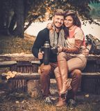 Cheerful couple in autumn park Royalty Free Stock Photos
