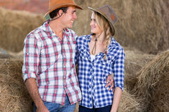Cheerful couple barn Royalty Free Stock Images