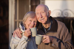 Cheerful Couple with Coffe Stock Photos