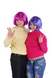 Cheerful couple in colorful wigs Royalty Free Stock Photo