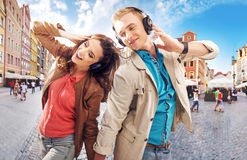 Cheerful couple dancing in downtown. Cheerful couple dancing in the downtown Stock Photography