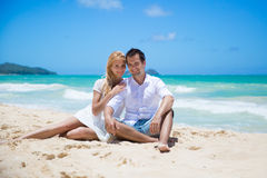 Cheerful couple embracing and posing on the beach  Royalty Free Stock Photo