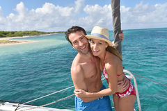 Cheerful couple enjoying on catamaran Stock Images