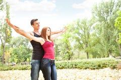 Cheerful couple enjoying in love Stock Photo