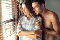 Cheerful couple enjoying in morning sun Royalty Free Stock Image
