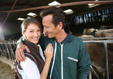 Cheerful couple of farmes feeling happy in barn Royalty Free Stock Photos