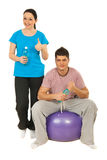 Cheerful couple  in gym club Stock Photo