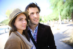 Cheerful couple hanging out in town Royalty Free Stock Photos