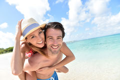 Cheerful couple having fun in caribbean islands Royalty Free Stock Photo