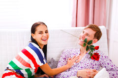 Cheerful couple having fun time at home Royalty Free Stock Images