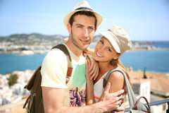 Cheerful couple on holidays visiting Stock Image