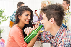 Cheerful Couple At House Party Royalty Free Stock Photography