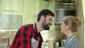 Cheerful couple in the kitchen.