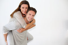 Cheerful couple looking at camera Stock Images