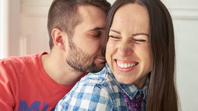Cheerful couple in love Royalty Free Stock Image