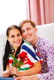 Cheerful couple in love enjoying themselves Royalty Free Stock Photos