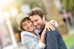 Cheerful couple in love smiling Stock Photography