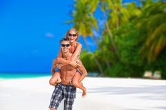 Cheerful couple on Maldives Stock Photography