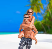 Cheerful couple on Maldives Stock Photo