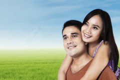 Cheerful couple in nature Stock Photography