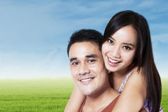Cheerful couple in nature 1 Stock Photo