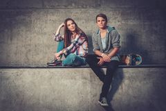 Cheerful couple outdoors Stock Images