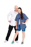 Cheerful couple over white background Stock Photography