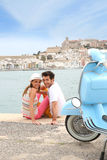 Cheerful couple relaxing in harbour Stock Photography