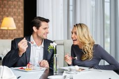 Cheerful couple in a restaurant Royalty Free Stock Photo