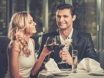 Cheerful couple in a restaurant Royalty Free Stock Images