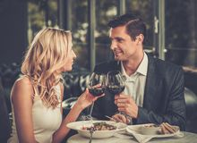 Cheerful couple in a restaurant Stock Images